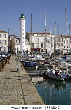 Lighthouse white and green of La Rochelle - stock photo