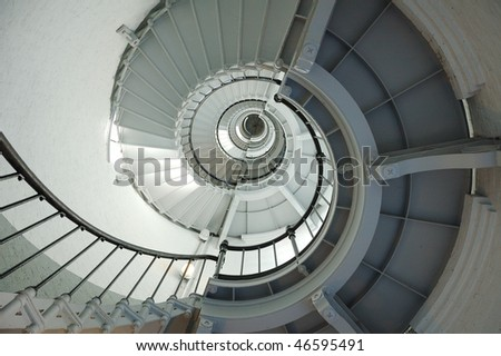 Lighthouse Winding Spiral Staircase - stock photo