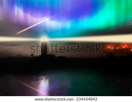 "lighthouse with aurora .""Elements of this image furnished by NASA "" - stock photo"