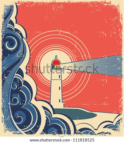 Lighthouse with blue sea.Grunge background for design of symbol card.Raster