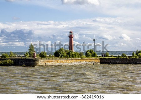 Lighthouses at Fort Kronshlot in the Gulf at the Kronstadt .Saint-Petersburg. Russia