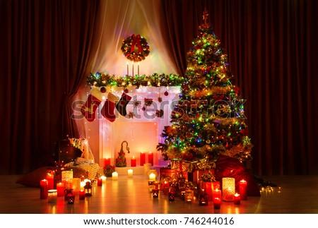 lighting christmas tree xmas fireplace and stockings new year night room interior - Tree Christmas Lights