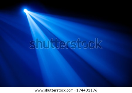 Lighting Concert spotlight blue on stage - stock photo