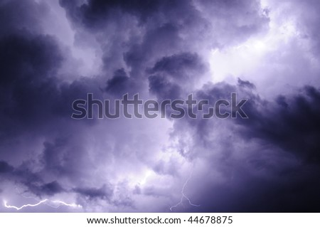 Lighting Crawls in Clouds - stock photo