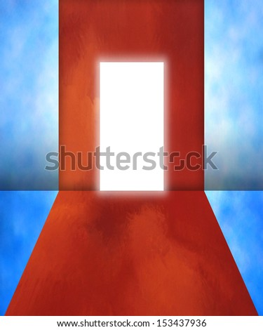 Lighting door in imagination room - stock photo