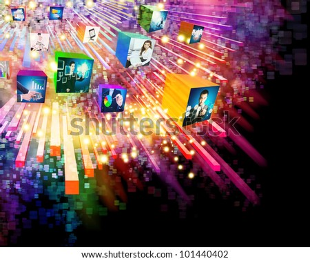 lighting effects with 3D cube screen ,graphic design ,business concept - stock photo