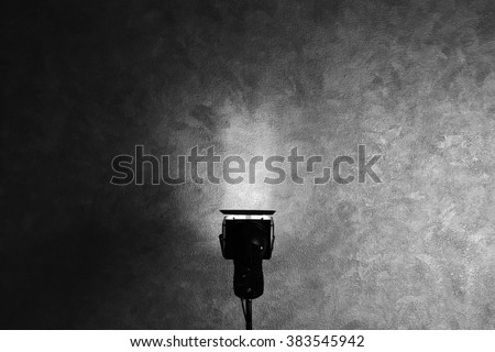 Lighting equipment in empty photo studio - stock photo