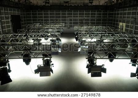 Lighting equipment of TV studio. - stock photo