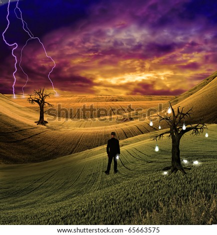 Lighting Flashes in the distance before man in colorful scene - stock photo