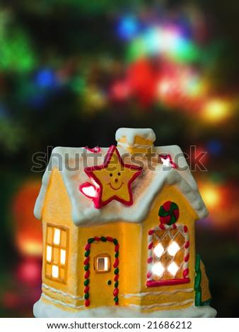 Lighting house, abstract christmas tree on background - stock photo