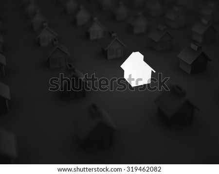 Lighting House Amoung Others In The Dark. Real Estate Concept 3d Render Illustration - stock photo