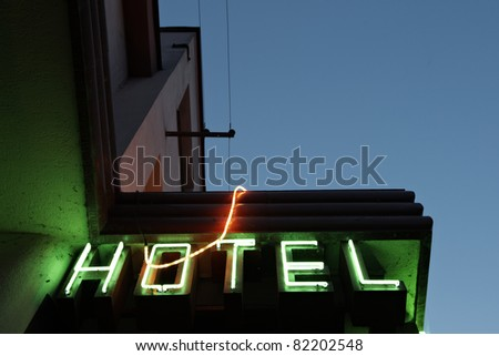 Lighting neon sign, hotel in Czech Republic