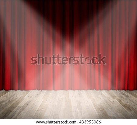 lighting on stage. red curtain and wooden floor. template for product display, theater, interior stage background - stock photo