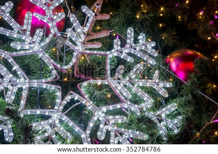 Lighting snow flake / Accessories of Christmas celebration - stock photo