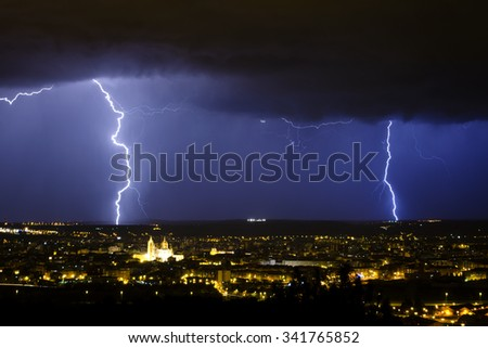 Lighting strikes in a severe spring storm over the city of Leon, Spain