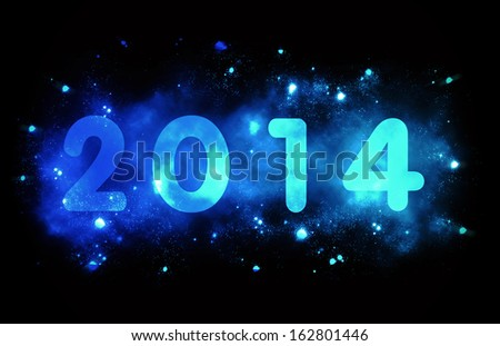 Lighting year 2014 with blue stars around