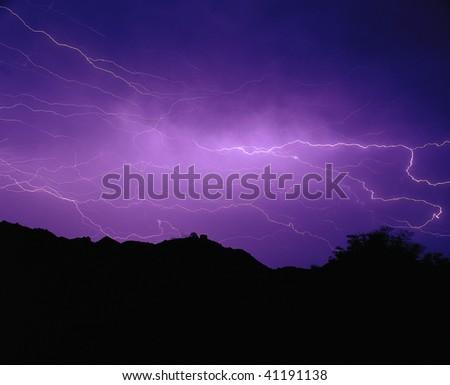 Lightings flash, thunders roars, stormy night. - stock photo