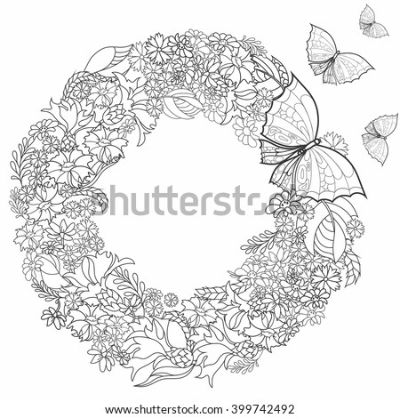 Lightness Flight Butterflies Wild Flowers Composition In A Circle Coloring Pages