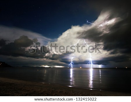 Lightning above the sea at night. Thailand - stock photo