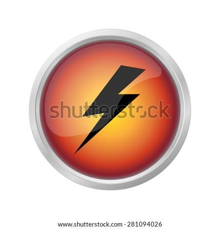 lightning and electricity icon on  red button - stock photo