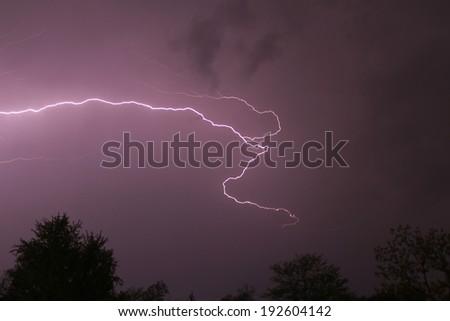 Lightning bolt in Missouri. - stock photo