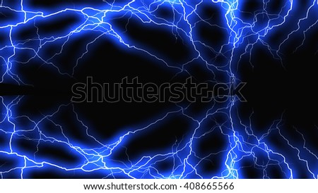 Lightning bolt on black background  - stock photo