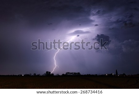 Lightning bolts and storm - stock photo
