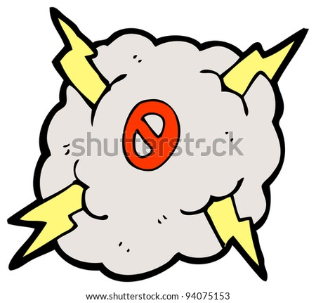 lightning cloud cartoon number zero (raster version)