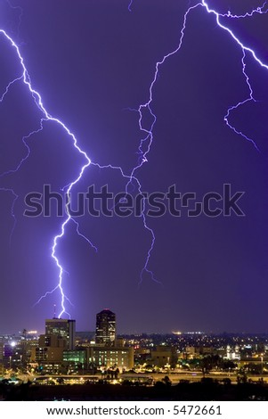 Lightning display over downtown Tucson - stock photo