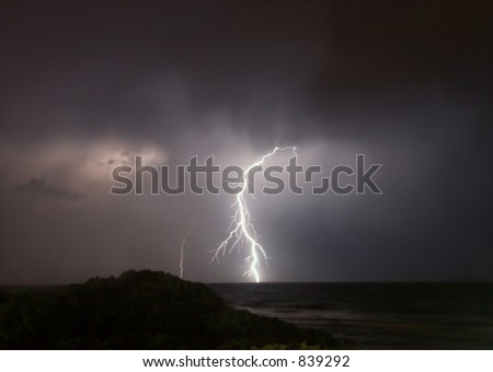 Lightning flash at sea