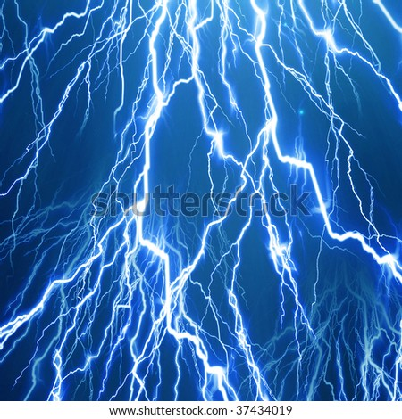 lightning flash on a bright blue background