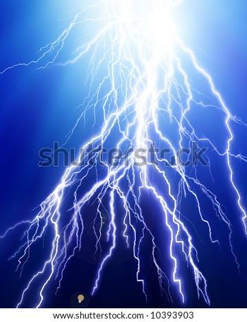 Lightning flash on blue background - stock photo
