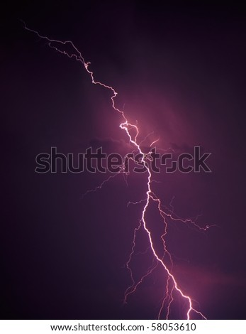 Lightning from a summer thunderstorm in Illinois