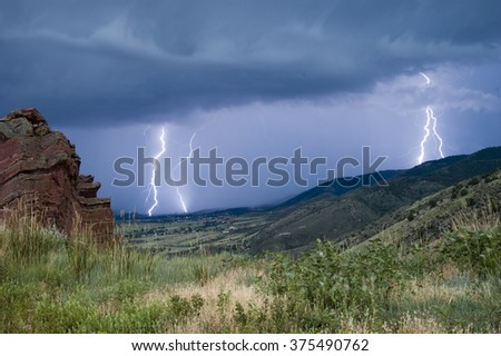 Lightning from  Red Rock Amphitheater in Colorado - stock photo