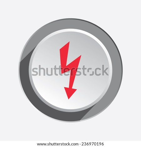Lightning icon. Power energy symbol. Red flat sign on 3d button with shadow. - stock photo