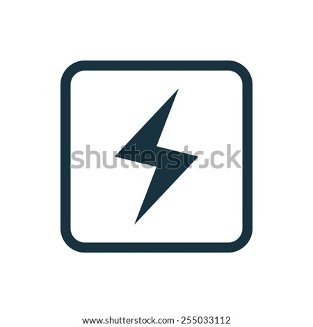 lightning icon Rounded squares button, on white background  - stock photo