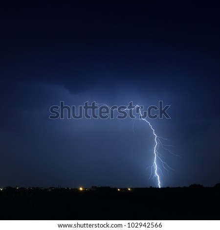 Lightning in a stormy sky