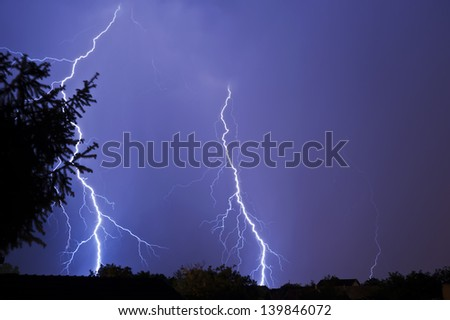 Lightning in the night - stock photo