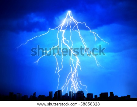 Lightning in the night rain - stock photo