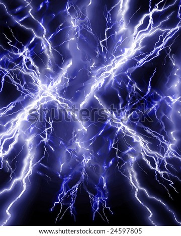 lightning or electricity on a dark background - stock photo