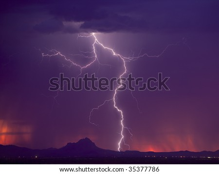 Lightning over Ragged Top Peak in southern Arizona.