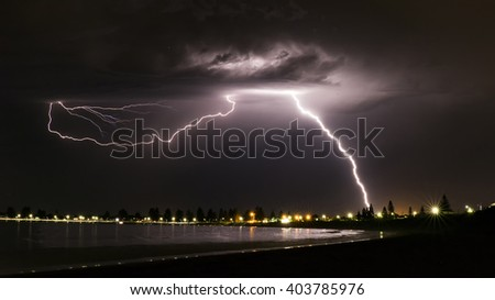 Lightning over Safety Bay - stock photo