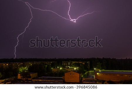 Lightning over the sky in the city