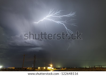lightning overhead - stock photo