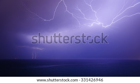 Lightning show. The storm at sea. Cyprus - stock photo