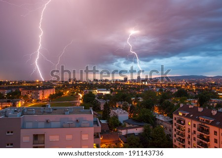 Lightning storm over city Zagreb, Croatia. - stock photo