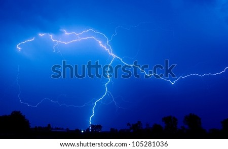 Lightning strike - stock photo