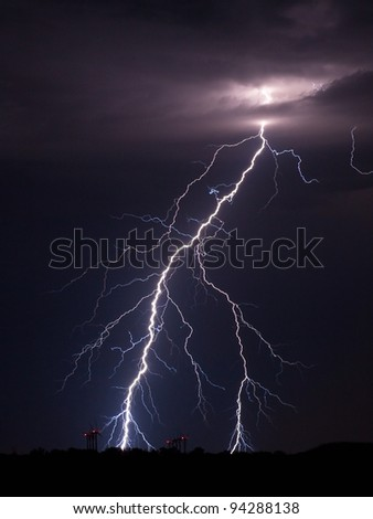 Lightning strike over a wind farm