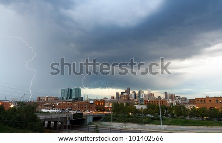 Lightning strike over the Denver Colorado Skyline - stock photo