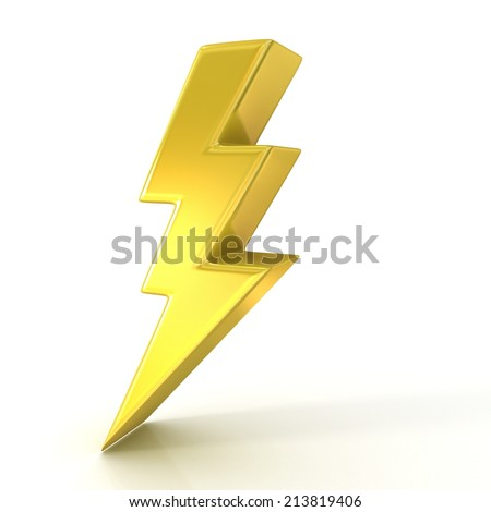 Lightning symbol, 3d golden sign isolated on white background - stock photo